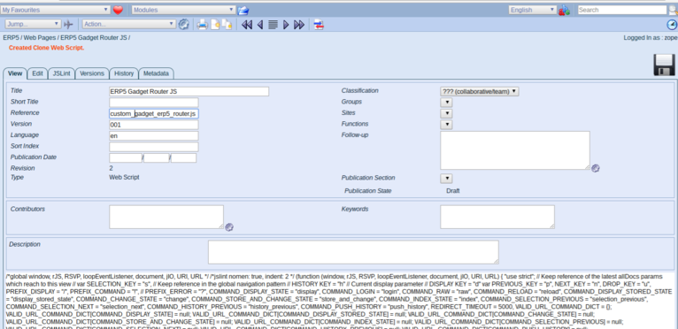 Wendelin-ERP5 - Web Page Module Clone & Publish